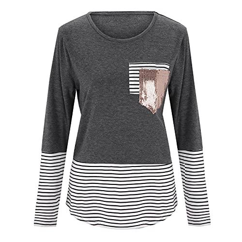 Blusa para mujer de mezcla de algodón, manga larga, básica, otoño, a rayas, tops, casual, camisa, túnica,...