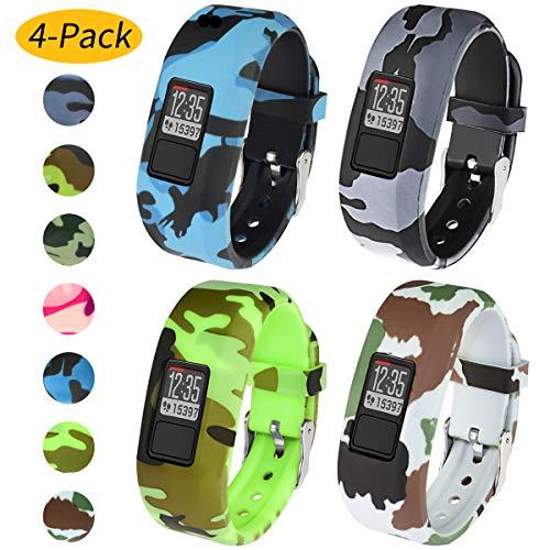 Vozehui Armband Kompatibel mit Garmin Vivofit 3 / Vivofit JR/Vivofit JR 2, Vier Packungen Flexible Bunte Ersatz-Sportarmbänder aus weichem Silikon für Kinder Jungen Mädchen