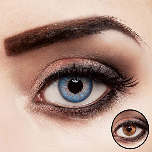 aricona Kontaktlinsen ohne Stärke | Premium | Super stark deckend - Blaue Jahreslinsen - 2er Pack