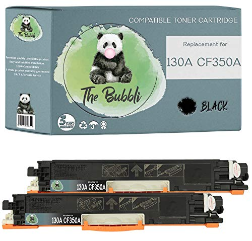 The Bubbli Original | 130A CF350A Tóner Compatible para HP Color Laserjet Pro MFP M177fw M176n (Negro, 2-Pack)