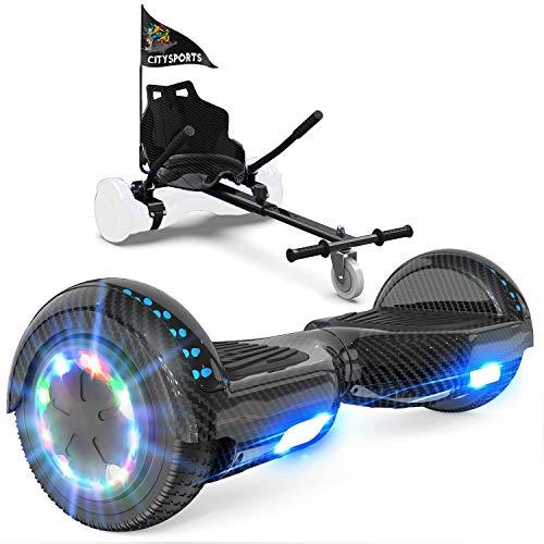 GeekMe Patinete Eléctrico Auto Equilibrio con Hoverkart,Hover Scooter Board, Balance Board + Go-Kart 6.5 Pulgadas con Bluetooth, Luces LED, Regalo para Niños, Adolescentes y Adultos