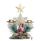 Candelero de Navidad Candelabros de mesa de Navidad Candelabros de metal para velas Mini candelabros de hierro forjado Adornos doble titular de vela para el hogar vacaciones decoración de la boda copo