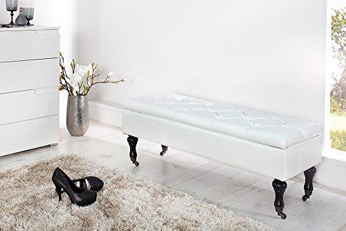 Edle Design Truhenbank BOUTIQUE, weiß, 110cm - 2