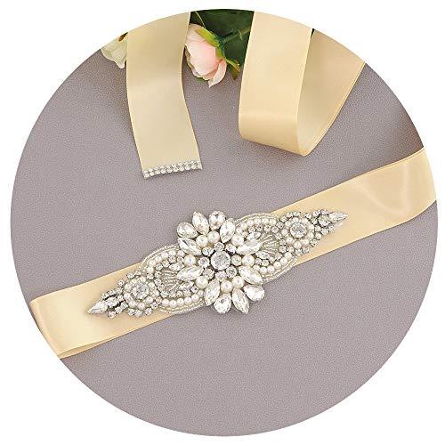 Nvfshreu riem dames bruidsjurken riem decoratieve diamanten taille riem eenvoudige stijl elegante prachtige mooie dame riem (kleur: champagne, maat: een maat)