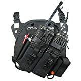 Coaxsher Radio Chest Harness Rig for 2 Way Radio, GPS and Hand Held Electronics | Ideal for Tactical Search and Rescue, Ski Patrol, Military and Emergency Response Personnel (Black, DR-1 Commander)