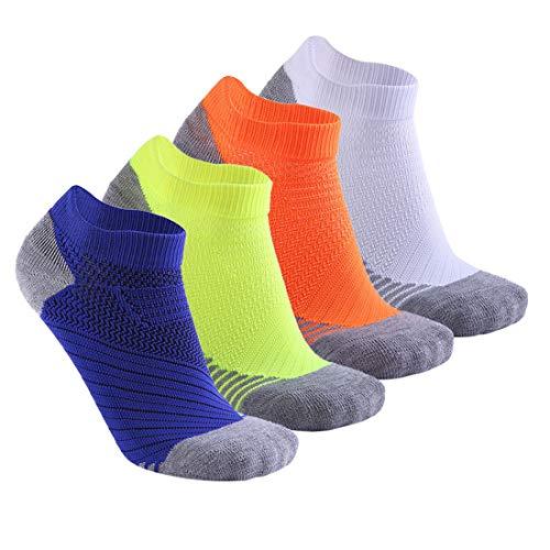 Zhhlinyuan Chaussettes de Sport en Coton Homme Femme de 4 Paires Socquettes Respirant Antidérapantes Courtes Chaussettes de Course Haute Performance