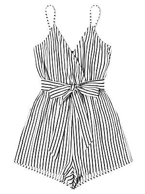 SweatyRocks Women's Sleeveless Striped Print V Neck Beach Shorts Romper Jumpsuit with Belt Black White XS