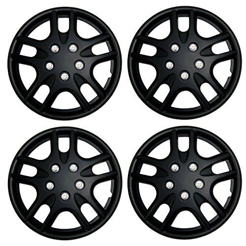 Tuningpros WC3-15-3523-B - Pack of 4 Hubcaps - 15-Inches Style Snap-On (Pop-On) Type Matte Black Wheel Covers Hub-caps