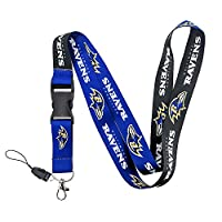 ILNYXMM Football Fans Keychain Lanyard with Detachable Buckle! REP Your Team! (Baltimore Ravens)