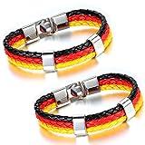 Aroncent Schwarz Rot Gold Deutsch Deutschland Flagge Armband Kordelarmband Fanartikel Fussball...