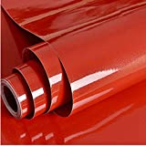 Hode Papel Adhesivo para Muebles Rojo 30cm X 3m Impermeable Vinilo Pegatina Autoadhesivo Decorativo Papel Pintado Cocina Baño PVC
