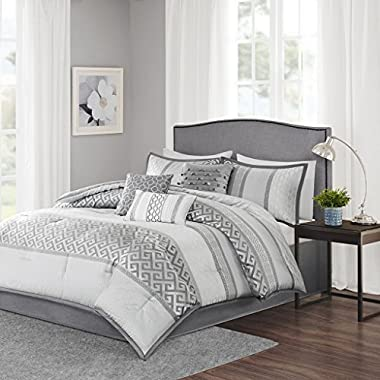 Madison Park Bennett King Size Bed Comforter Set Bed In A Bag - Grey, Jacquard Geometric – 7 Pieces Bedding Sets – Faux Silk Bedroom Comforters