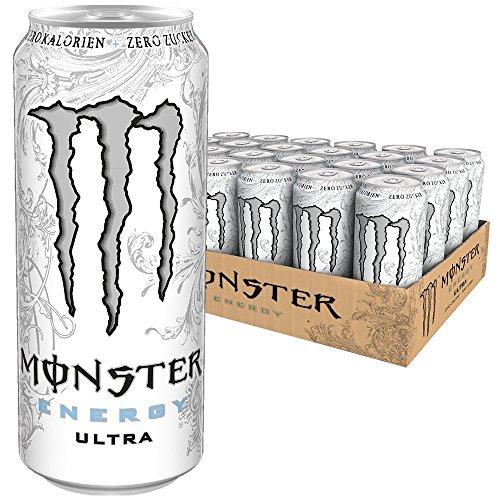 Monster Energy Ultra White mit leichtem Zitrusgeschmack - Zero Zucker & Zero Kalorien, Energy Drink Palette, EINWEG Dose (24 x 500 ml)