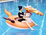 CMYK Pool Float, Giant Inflatable Rafts Beach Decorations Toy, Summer Beach Swimming Pool Party Large Rideable Blow Up Fire Dragon , Adults & Kids, Patch Kit Included