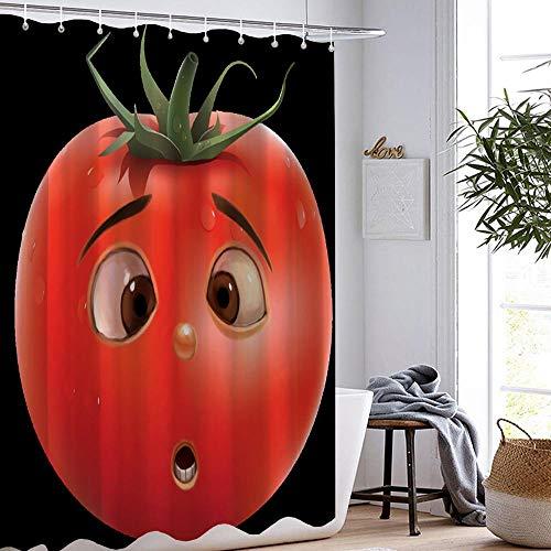 FANYIZHIJIA Tomate Duschvorhang Natur Pflanze Wasserdicht Bad Duschvorhang Set Tropisches Gemüse Bad Duschvorhang Mit Haken 180X180Cm 05