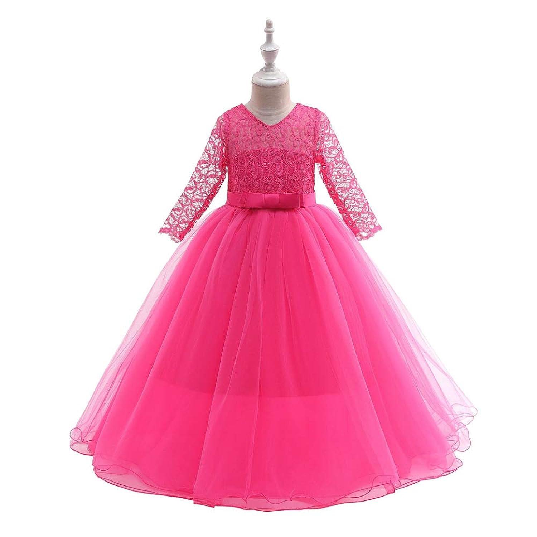 ガールズドレス ワンピース 入園式 結婚式 七五三 卒業式 お花柄 プリンセスドレス 長袖