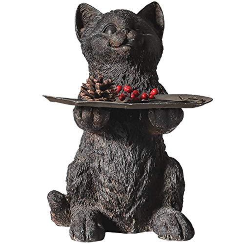 DZX Estatua de Gato de Resina, decoración del hogar, Modelo de Gato, Oficina, Sala de Estar, decoración de Escritorio, Bandeja de Almacenamiento H37CM para el jardín del hogar