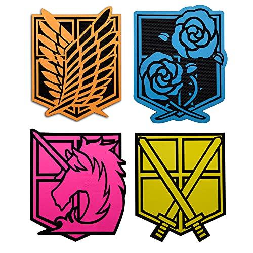 Ohrong Parche Attack On Titans Glow Dark Tactical Morale Militar Anime Manga Suave Regimiento Scout Insignias Personalizadas Decorativas DIY Combat Paintball Badge Appliques (Multi Color)