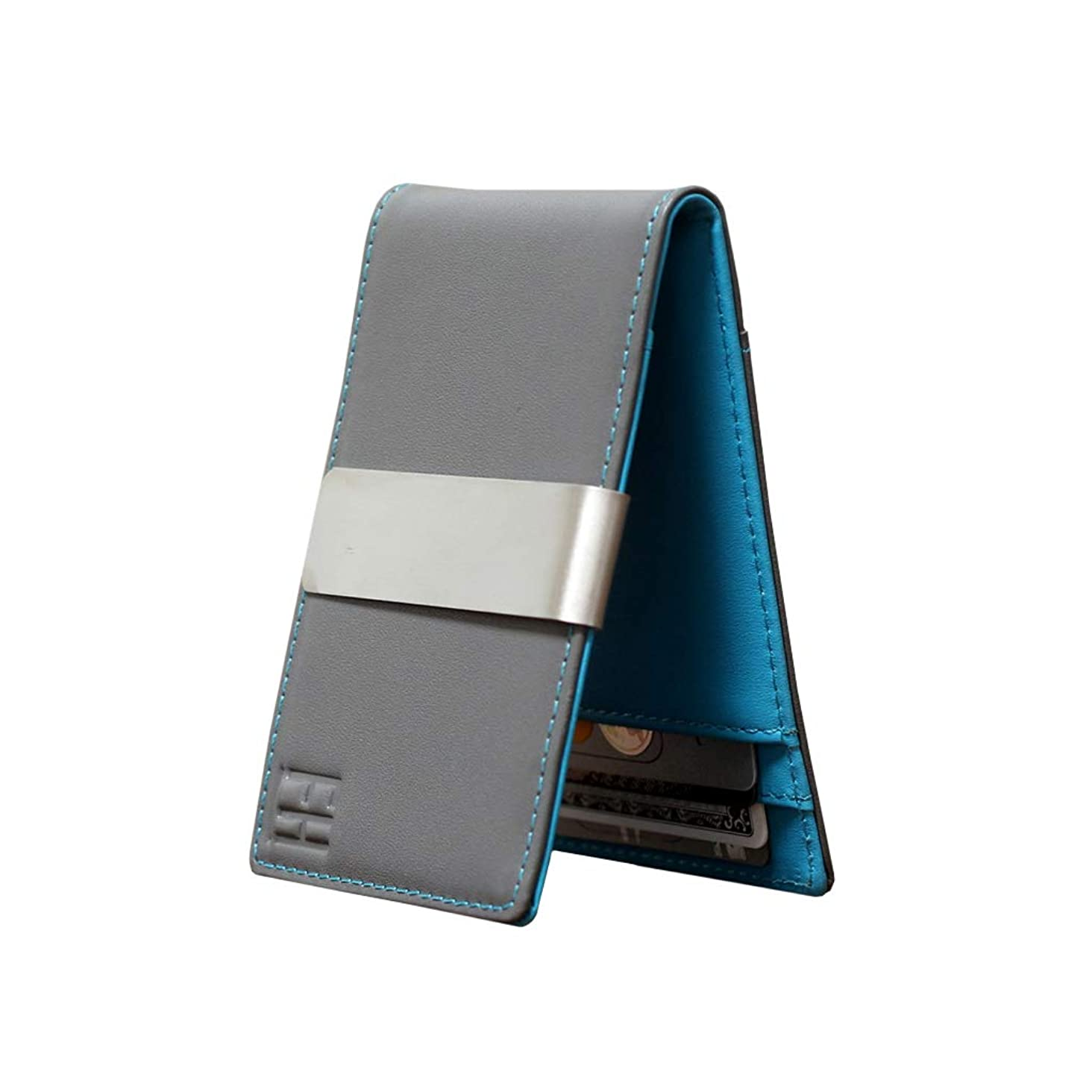 F&H Minimalist Slim Leather Wallet Money Clip Holds 8 Cards