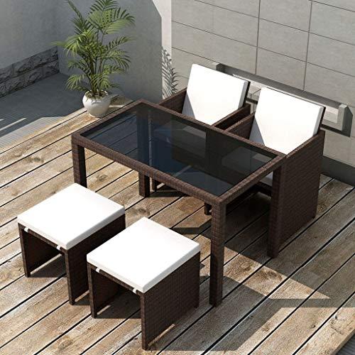 Tidyard Conjunto Muebles de Jardín de Ratán 11 Piezas con Taburetes Sofa Jardin Exterior Sofas Exterior Ratan Conjunto Jardin para Jardín Terraza Patio en Poli Ratán Marrón