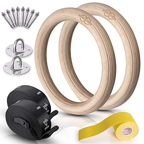 Wooden Gymnastic Rings - 992lb Capacity w/ Non-Slip Hand Tape, Ceiling Hanging Hardware, Numbered Adjustable Straps and Buckles - Training Rings for CrossFit and Body Weight Workout for Home Gym