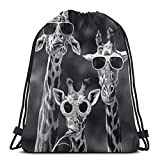 Yuanmeiju Funny Giraffes Family Black 3D Print Coulisse Zaino Rucksack Shoulder Bags Borsa da ginnastica For Adult 17'X14'
