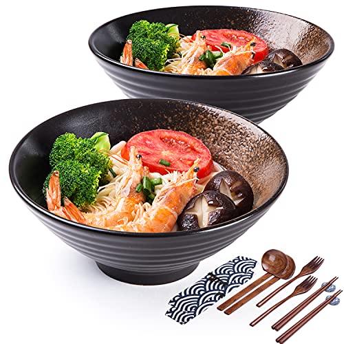 Porcelain Ramen Bowl Sets, 14 Piece Noodle Bowls for Soup, Salad, Pho, Udon, Pasta &...