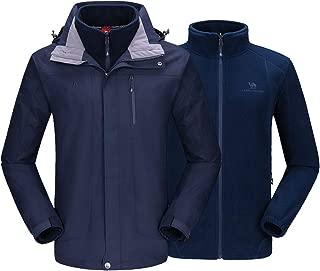 CAMEL CROWN Men's Winter Jacket 3-in-1 Winter Coats Ski Jacket Waterproof with Warm Fleece Inner and Windproof Hooded