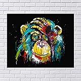 wtnhz Sin Marco Color Graffiti Mono Orangután Lienzo Pintura al óleo Animal Print HD Arte de la Pared Pintura Porche Corredor Decoración Imágenes