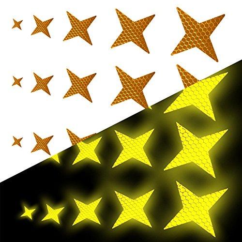 Tuqiang Vierzackige Sternform Reflektierendes Klebeband Wasserdicht Selbstklebend Für Rollstuhl Gehstock Schuhe Hohe Sichtbarkeit Band Sicherheit im Freien Reflektierend Aufkleber 25 Stück Gelb