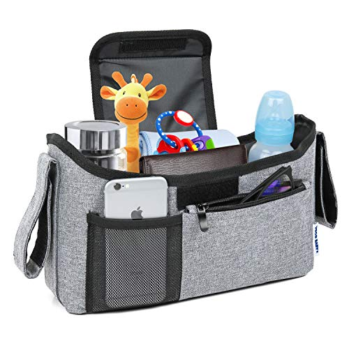 Deluxe Stroller Organizer Universal Fit for All Strollers Multiple Pockets Zipper and Phone Pocket Deep Insulated Cup Holders Grey Melange
