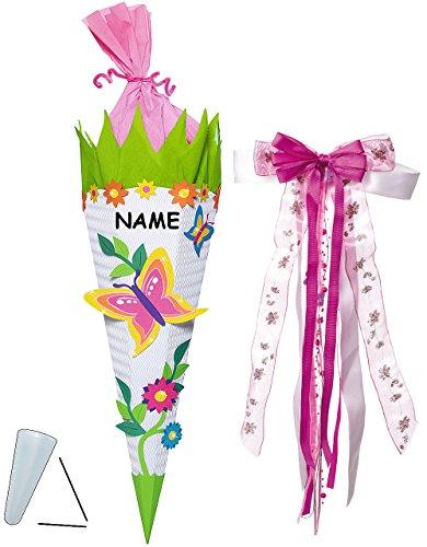 alles-meine.de GmbH BASTELSET Schultüte - Schmetterling & Blumen - 85 cm - incl. großer Schleife + Name - mit / ohne Kunststoff Spitze - Zuckertüte - Set zum selber Basteln -..