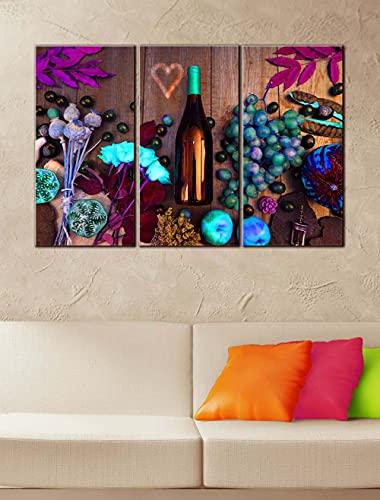 KOPASD Arts – 3 Piezas de Lienzo de Arte de Pared Colorido Vino Botella de Vino y UVA. Cuadros de Lienzo Moderno Giclée para decoración del hogar (tamaño Grande 30x50cmx3)