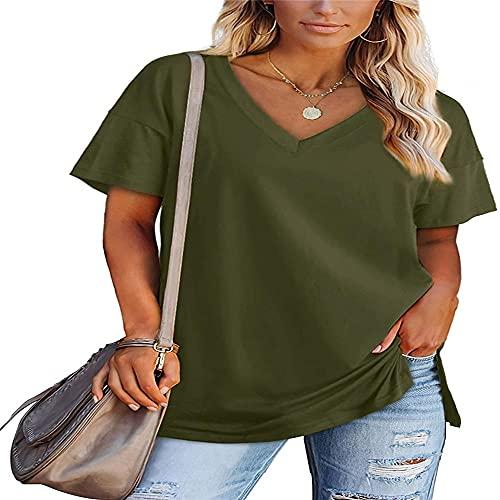 Camiseta de Manga Corta para Mujer, Camiseta de Color sólido con Cuello en V, Dobladillo Largo, Casual, Ropa básica de Verano, Camiseta de Manga Corta Suelta Casual Camiseta Casual de Moda Hen