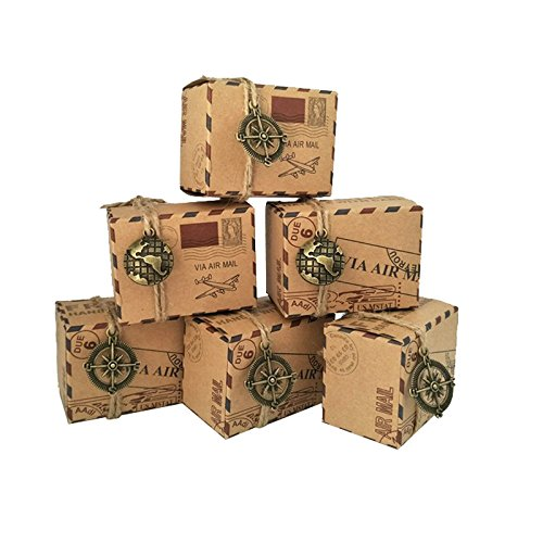 Yalulu 50Pcs Vintage Favors Kraft Paper Candy Box Travel Theme Airplane Air Mail Gift Packaging Box Wedding Souvenirs With Map/Compass Pendant