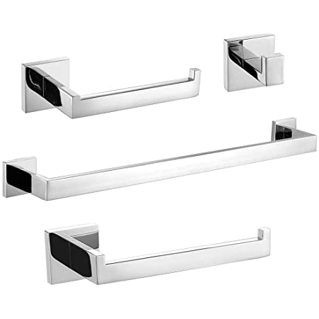 Leyden Chrome Towel Bar Bathroom Polished Silver Towel Holder Modern Square Wall Mounted Towel Rack Rod Bathroom Accessories Home Kitchen