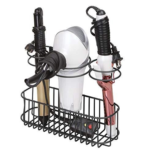 mDesign Fönhalter zur Wandmontage – praktisches Badregal mit 3 Halterungen zur Fön Aufbewahrung – optimaler Badorganizer für Lockenstab, Glätteisen und Haartrockner – schwarz