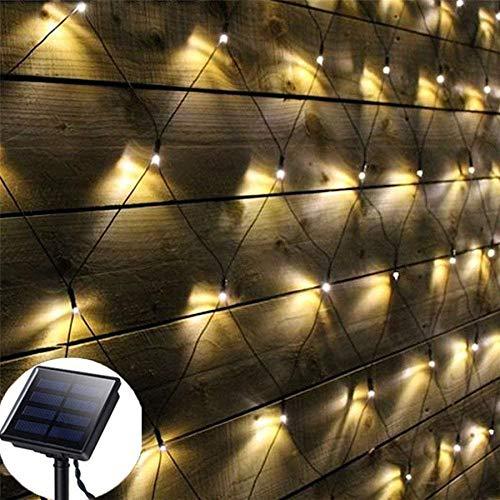 Fried Maravilloso 3x2m luz de Malla Secuencia del LED Solar Net 204 Navidad al Aire Libre Jardín Alquiler Patio Trasero Solar Net Garland Light Cortina (Emitting Color : Warm White)