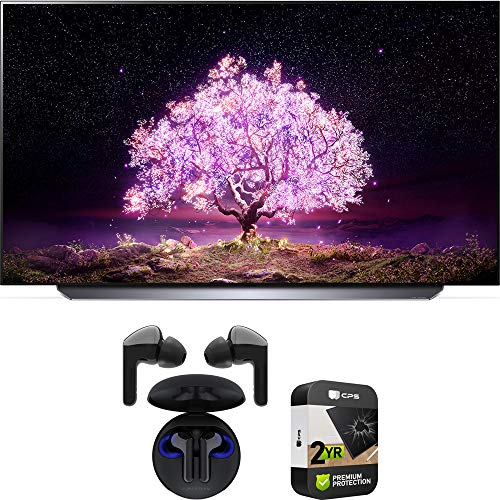 LG OLED65C1PUB 65 Inch 4K Smart OLED TV with AI ThinQ (2021) Bundle with Premium 2 Year Extended Protection Plan and LG Tone Free HBS-FN6 True Wireless Earbuds Bluetooth Meridian Audio w/UVnano Case