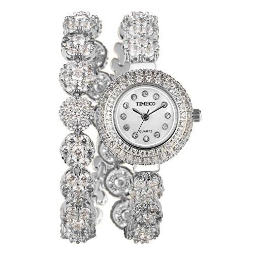 Time100 Orologio Donna Bracciale Ovale Analogico Movimento al Quarzo Cinturino Acciaio Argento Elegante e Leggero#W50531L.03A(Argento-lungo)