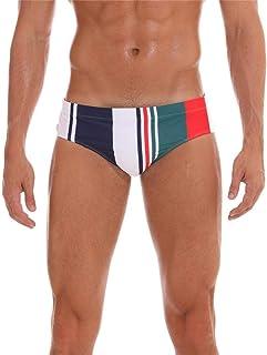 Arcweg Men's Swimming Trunks Briefs Low Waist with Removable Pad Swimwear Elastic Beach Shorts Boxers Underwear