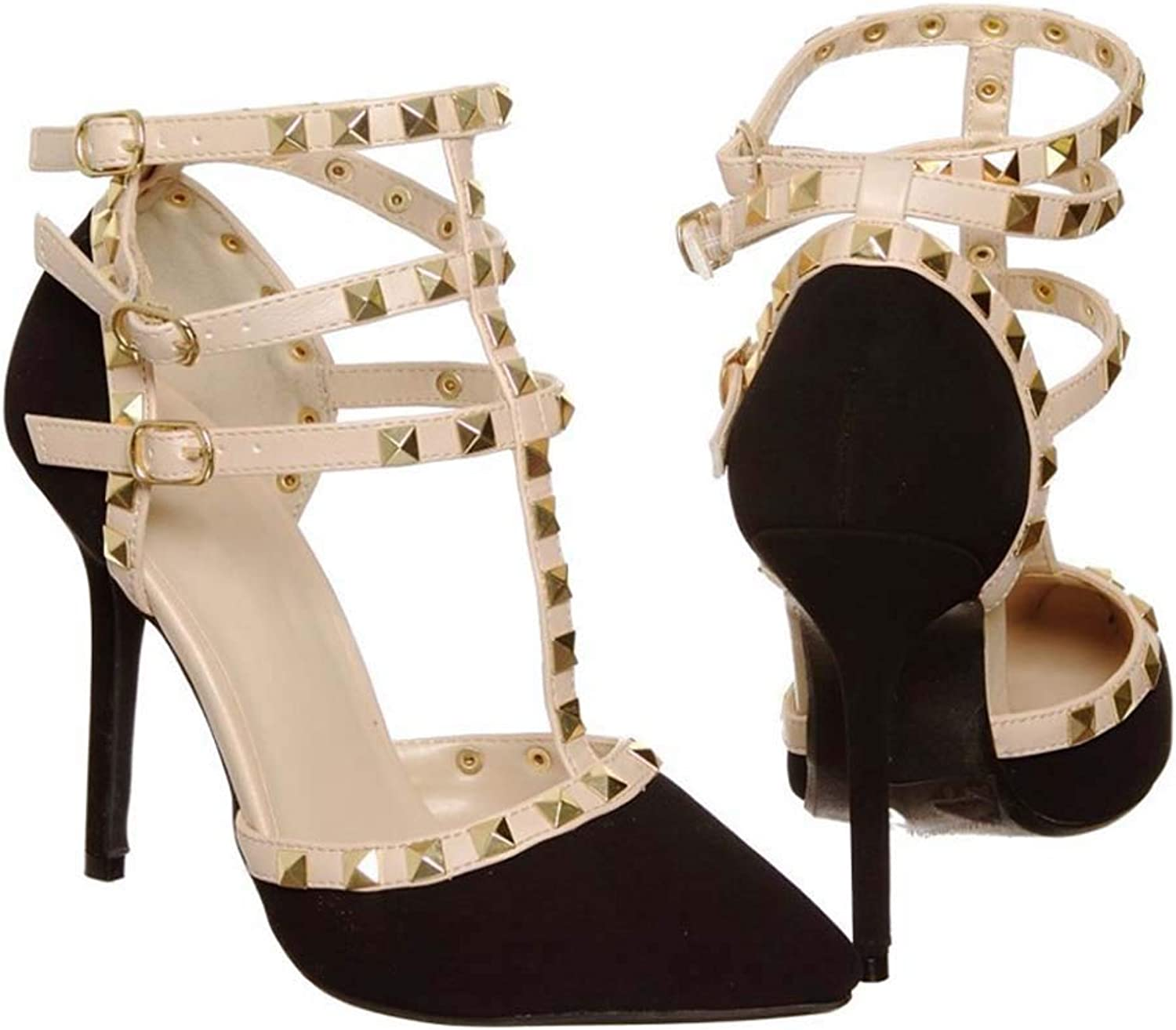 Sandals Female Pointed Head with Women's Sandals T-Type Strap Rivets shoes