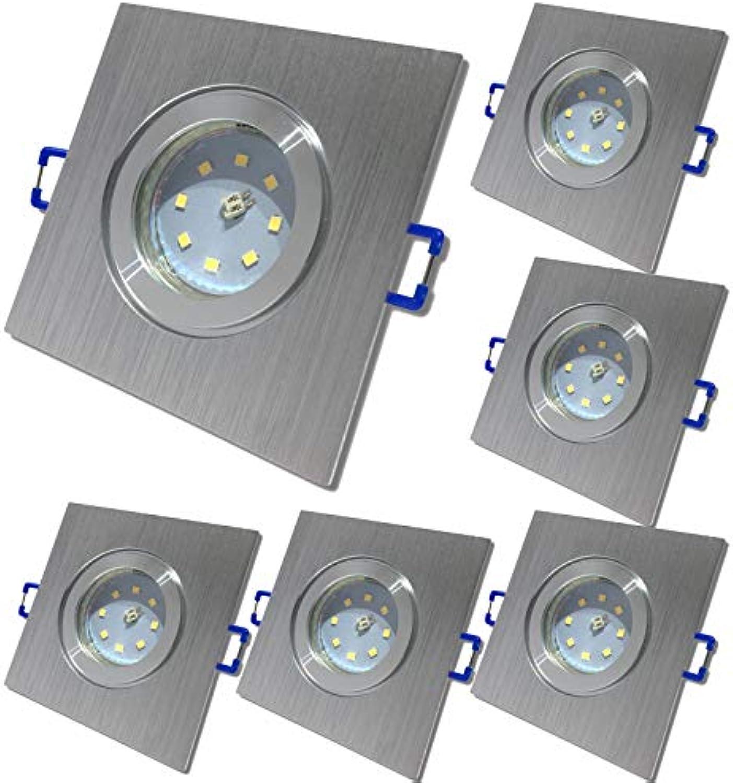 6 Stück IP44 SMD LED Bad Einbauring Neptun 230 Volt 5 Watt Eckig Farbe BiFarbe Lichtfarbe Warmwei