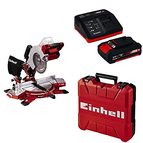 Einhell 4300890 Troncatrice Te-Ms 18/210 Li Solo, 18 V + Power-X-Change Starter Kit(Batteria e Caricabatteria) + Valigetta Universale