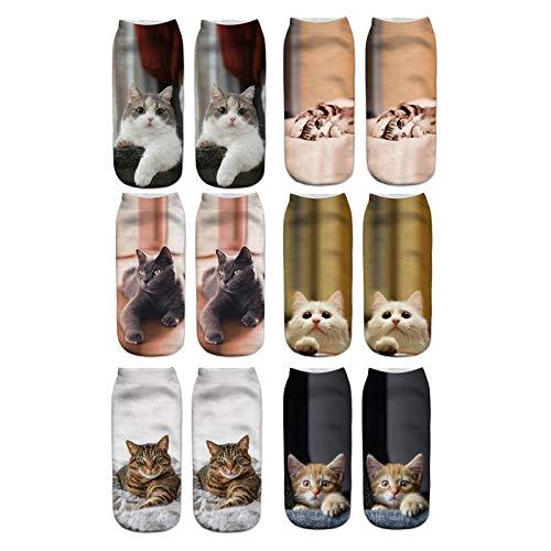 Longyangqk Calcetines de Deporte Tobilleros para Chico Chica con Refuerzo Estampado de Gato Divertido Fitnes Yoga Correr