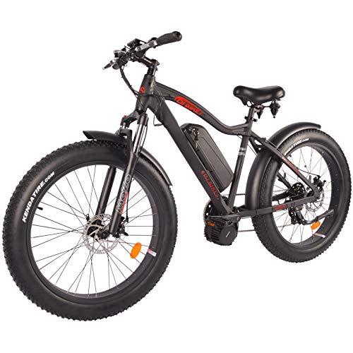 DJ Mid Drive Fat Bike 750W 48V 13Ah Power Electric Bicycle, Matte Black, LED Bike Light, Suspension Fork and Shimano Gear