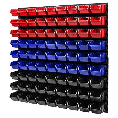 Estantería de pared apilable – 772 x 780 mm – 81 cajas de almacenamiento para taller (rojo/azul/negro)