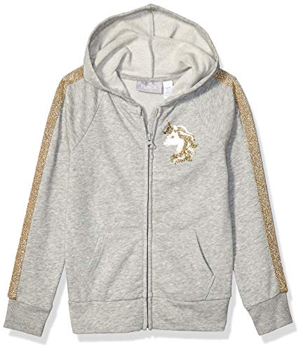 The Children's Place Girls' Big Active Zip Hoodie, Heather/T Smoke, XS (4)
