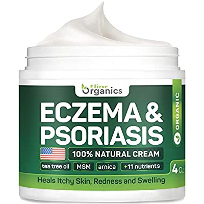 Psoriasis & Eczema Cream - Natural Eczema Treatment with Tea Tree Oil, MSM, Honey & Arnica - Made in USA - Powerful Dermatitis, Irritation & Psoriasis Treatment - Steroid-Free Psoriasis Cream - 4OZ by ELLIEVE Organics