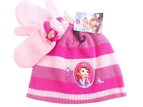 BNWT filles chaud hiver cadeau de Noël Sofia The First Ensemble chapeau et moufles 3–6 ans